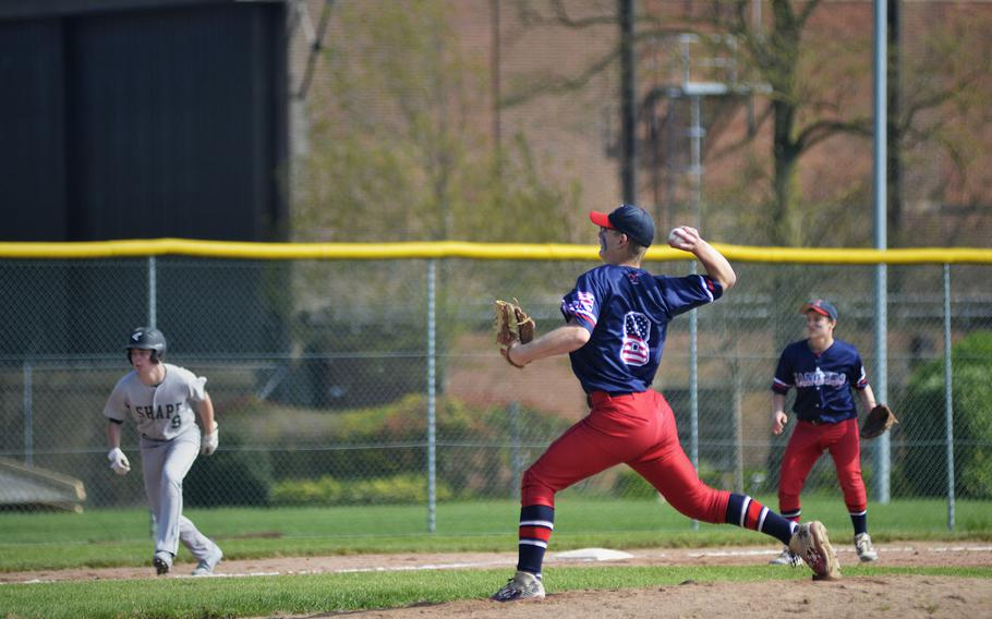 Lakenheath's Jaxon Tomchesson pitches against SHAPE during the first game of a doubleheader at RAF Feltwell, England, Saturday, April 21, 2018.