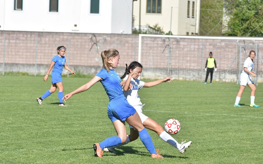 Marymount's Anna Mathiesen battles Rota's Avery Nance for the ball in the Admirals' 2-1 victory on Saturday, April 21, 2018 at Aviano, Italy.