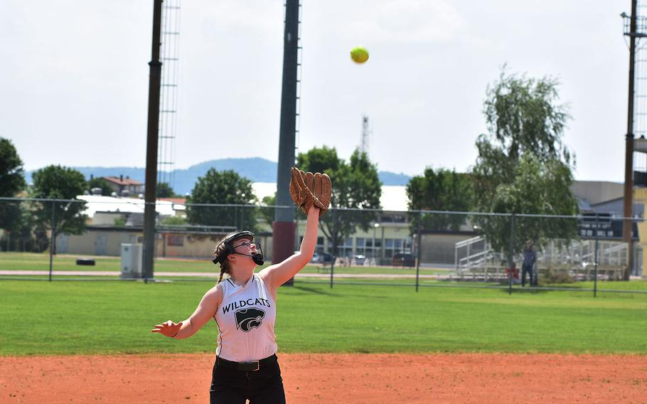 Naples shortstop April Sullivan prepares to catch a popup on Friday, May 11, 2018.