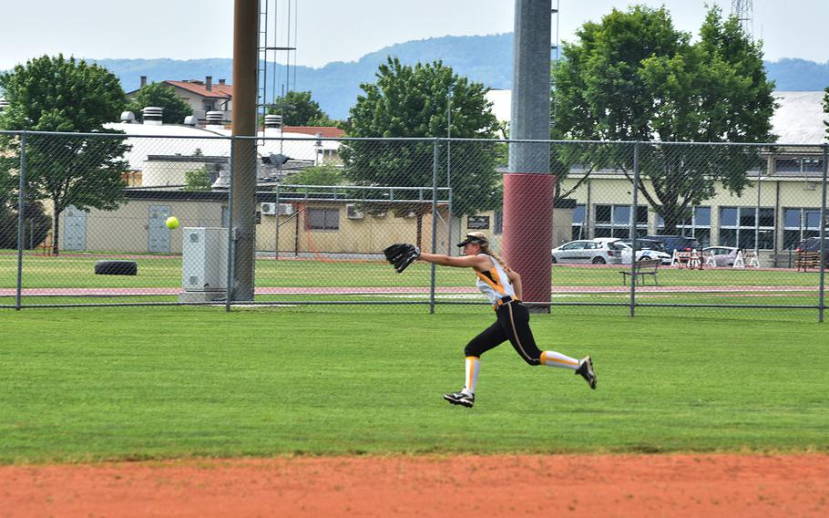Vicenza center fielder Riley Elliot tries in vain to track down a hit by Kaiserslautern's Phoenix Whisennand that turned into a home run on Friday, May 11, 2018.