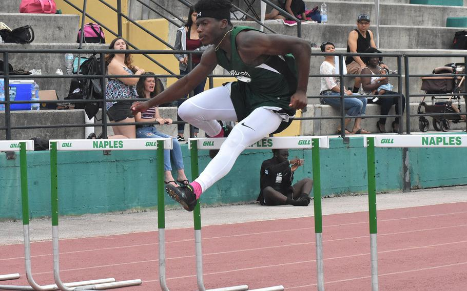Naples' Johna Joseph wins the 110-meter hurdles by a strong margin on Saturday, May 12, 2018 at Naples Middle High School in Gricignano, Italy.