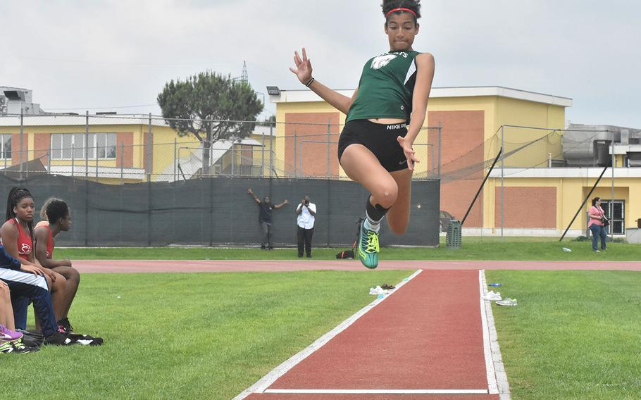 Naples' Grace Atkins leaps 14 feet, 9 1/4 inches, putting her three quarters of an inch short of the 15 feet required for her to qualify for the European championships.