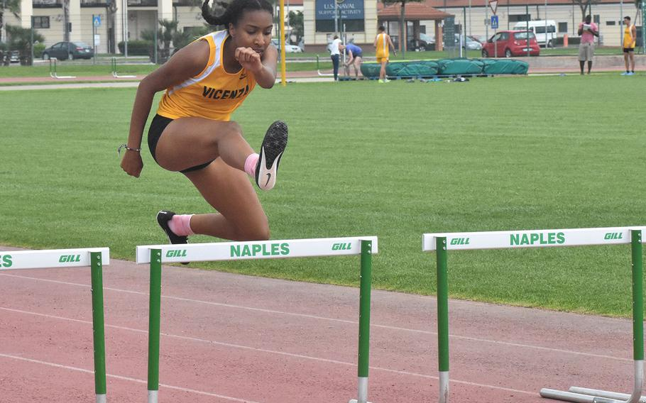 Vicenza's Brandy James cruises to a victory in the 300-meter hurdles on Saturday, May 12, 2018. James also won the 100 hurdles.