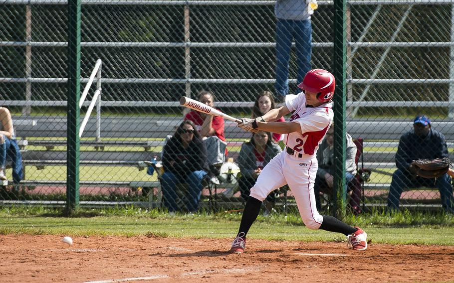 Kaiserslautern's George Stephan gets a hit during a game against Ramstein in Kaiserslautern, Germany, on Saturday, May 19, 2018.