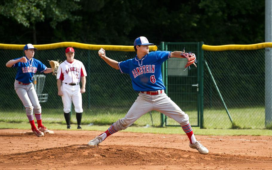 Ramstein's Kaleb Bellew pitches during a game against Kaiserslautern in Kaiserslautern, Germany, on Saturday, May 19, 2018.