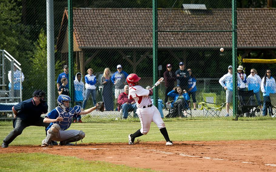 Kaiserslautern's Alexander Wells gets a hit during a game against Ramstein in Kaiserslautern, Germany, on Saturday, May 19, 2018.