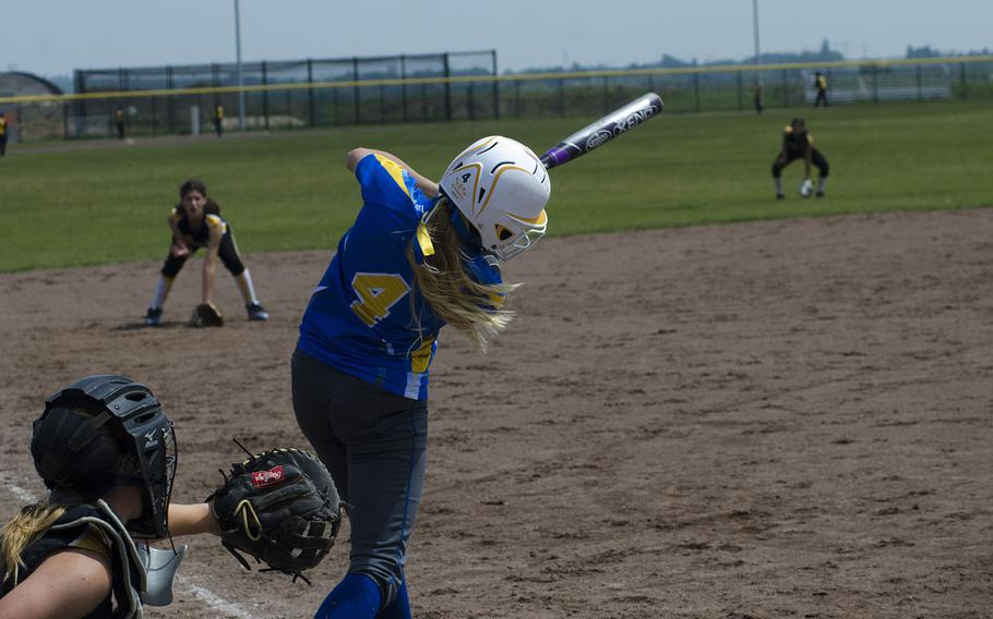 Wiesbaden's Grace Turner makes contact during a doubleheader against Vicenza on Saturday, May 19, 2018 in Wiesbaden, Germany.