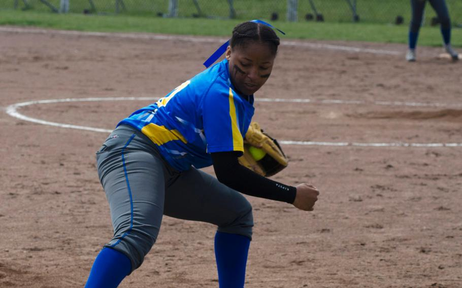 Wiesbaden's Kyla Price tags third base to complete a double play after making a catch during a doubleheader against Vicenza on Saturday, May 19, 2018 in Wiesbaden, Germany. Price and the Warriors bounced back to take the second half of the doubleheader, 15-4.