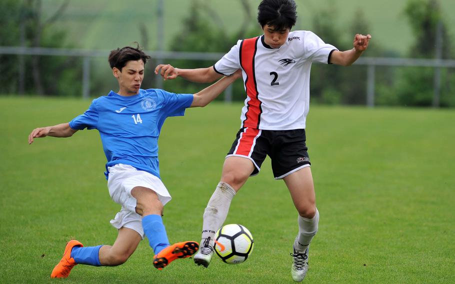 Marymount's Giovanni Taricone, left, tries to get the ball from AOSR's Seung Hyun Na in a Division II semifinal at the DODEA-Europe soccer finals in Reichenbach, Germany, Wednesday, May 23, 2018. Marymount won 4-2 to advance to Thursday's final.