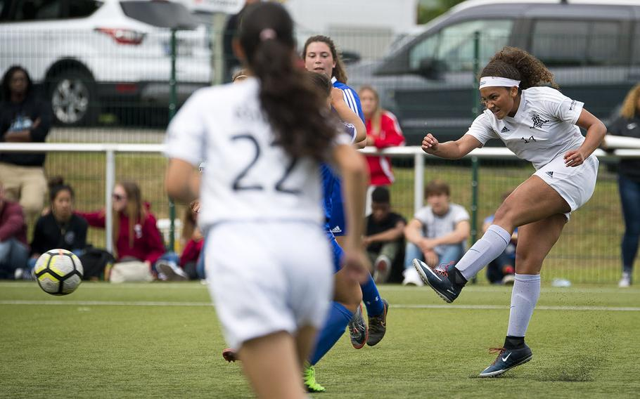 Ramstein's Brynne Beauchan takes a shot during the DODEA-Europe soccer championships in Reichenbach, Germany, on Wednesday, May 23, 2018. Ramstein won the Division I semifinal match against Wiesbaden 3-1.
