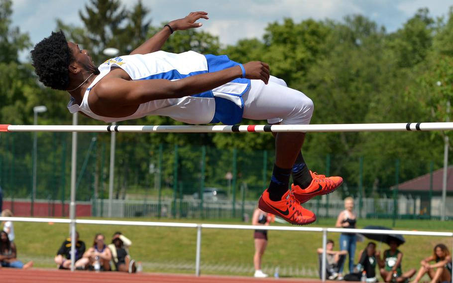 Wiesbaden's Markez Middlebrooks jumped 6 feet, 1 inch, to win the boys high jump competition at the DODEA-Europe track and field championships in Kaiserslautern, Germany, Friday, May 25, 2018. He was the only jumper to clear the height.