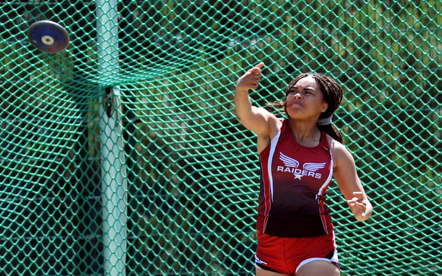 Kaiserslautern's Mercedes Durden took the girls 2018 DODEA-Europe discus crown with a throw of 100 feet at the championships in Kaiserslautern, Germany, Friday, May 25.