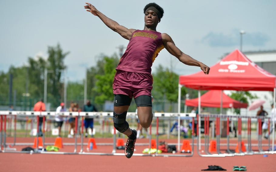 Baumholder's Nathaniel Horton won the boys long jump completion at the DODEA-Europe track and field championships for the third year in a row with a leap of 21-07.50.