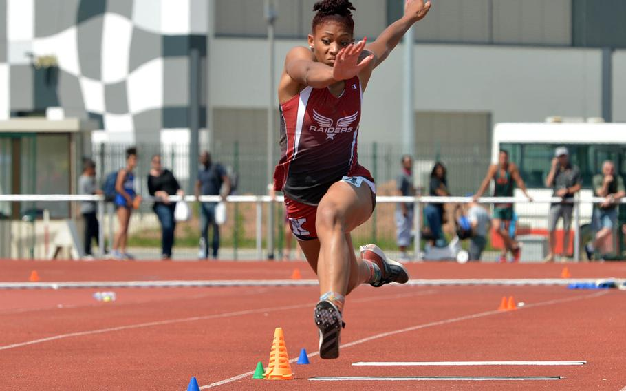 Kaiserslautern's Jada Branch repeated as the girls triple jump champion at the European finals, with a leap of 39 feet, 6 inches, breaking her own DODEA-Europe record.