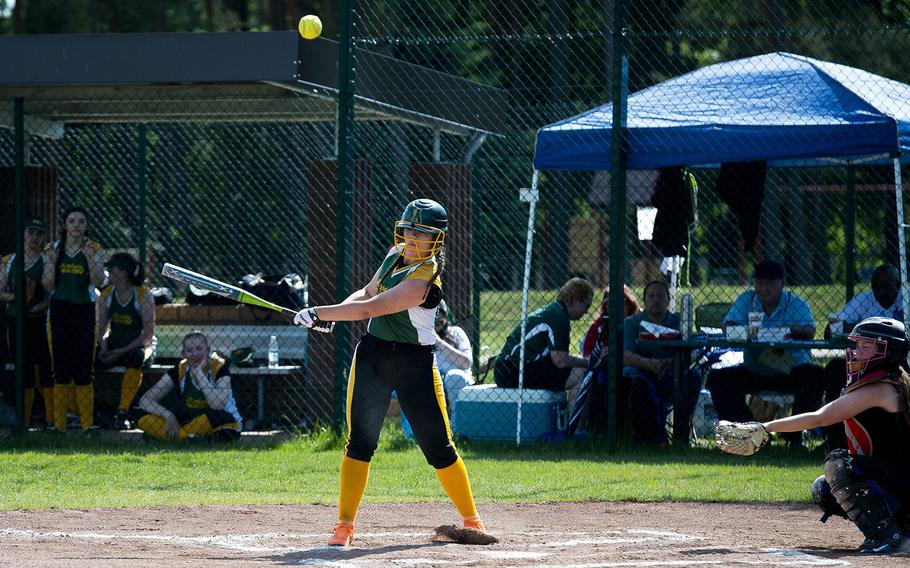 Alconbury's Bella Thomas hits the ball during the DODEA-Europe softball tournament at Ramstein Air Base, Germany, on Friday, May 25, 2018.