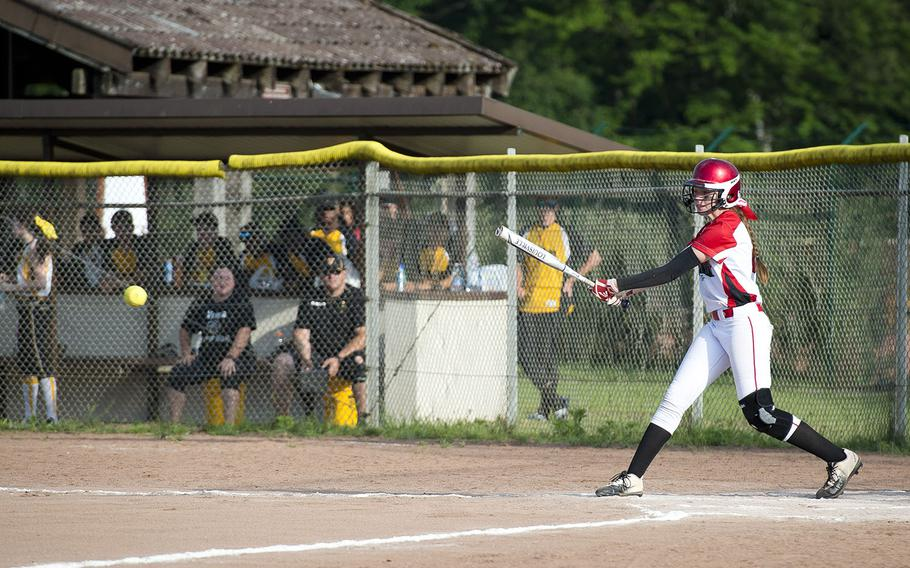 Kaiserslautern's Abi Young hits the ball during the DODEA-Europe softball tournament in Kaiserslautern, Germany, on Friday, May 25, 2018.