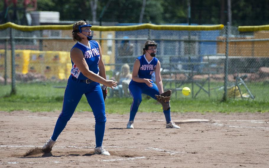 Ramstein's Abby Walker pitches that ball during the DODEA-Europe softball tournament in Kaiserslautern, Germany, on Friday, May 25, 2018.