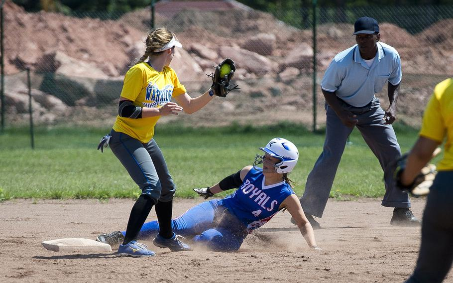 Ramstein's Abigail Hollenbeck, right, slides into second ahead of a tag by Wiesbaden's Grace Turner during the DODEA-Europe softball tournament in Kaiserslautern, Germany, on Friday, May 25, 2018.