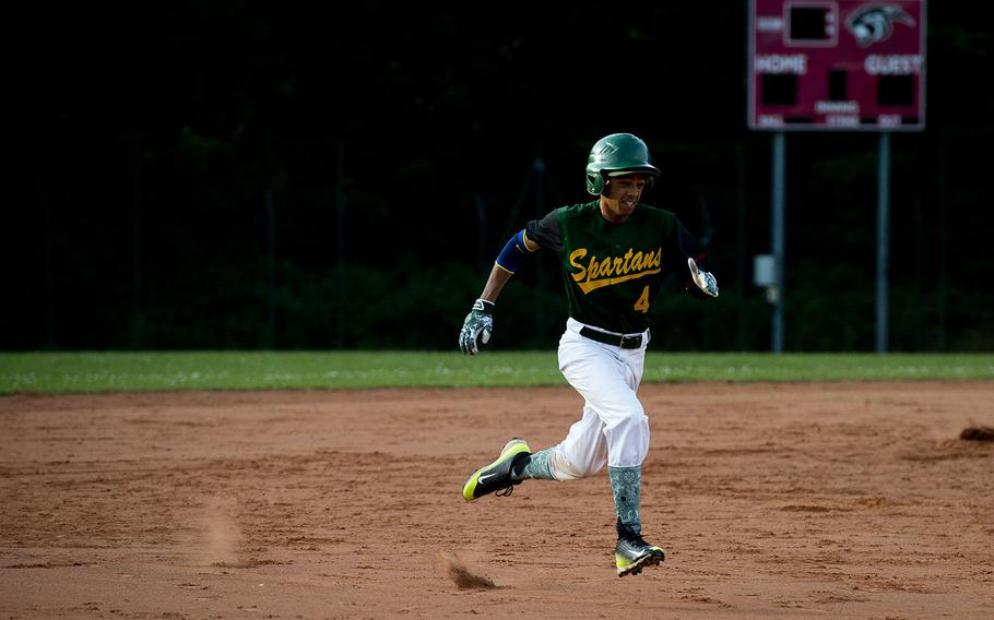 SHAPE's Eliza Luis runs to third during the DODEA-Europe baseball tournament in Kaiserslautern, Germany, on Friday, May 25, 2018.