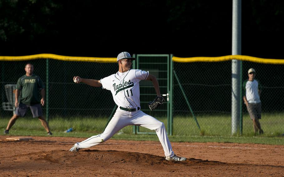 Naples' Omar Lopez pitches during the DODEA-Europe baseball tournament in Kaiserslautern, Germany, on Friday, May 25, 2018.