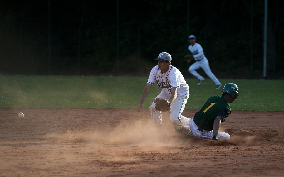 SHAPE's Jevon Wong, right, slides in safe at second ahead of a throw to Naples' Gabriel Quejada during the DODEA-Europe baseball tournament in Kaiserslautern, Germany, on Friday, May 25, 2018.