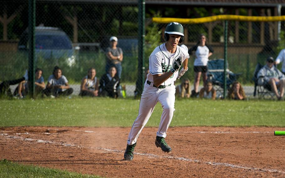 Naples' Jhalon Cady runs to first during the DODEA-Europe baseball tournament in Kaiserslautern, Germany, on Friday, May 25, 2018.