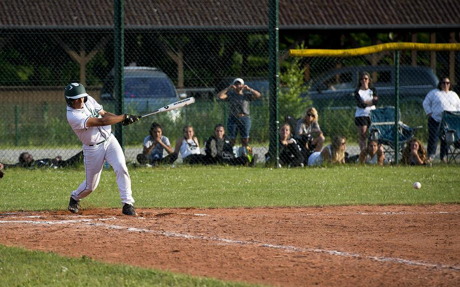 Naples' Zane Miagany hits the ball during the DODEA-Europe baseball tournament in Kaiserslautern, Germany, on Friday, May 25, 2018. Naples won the Division I game against SHAPE 8-5.