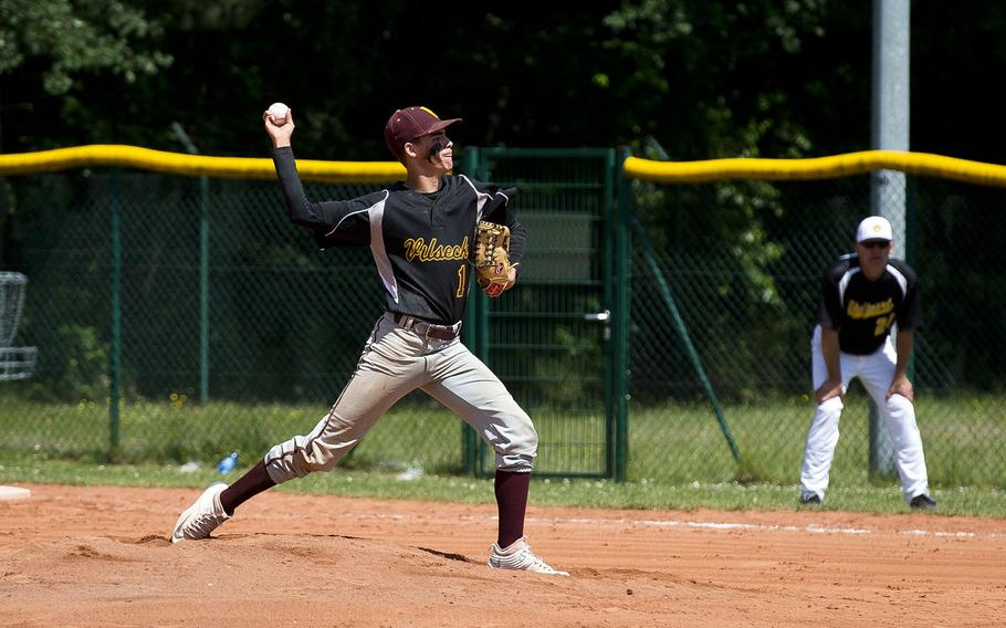 Vilseck's Isaiah Hernandez pitches the ball during the DODEA-Europe baseball tournament in Kaiserslautern, Germany, on Friday, May 25, 2018.