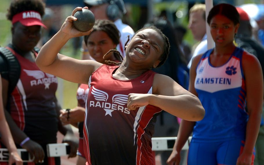 Kaiserslautern's Zhane Williams took gold in the girls shot put event at the DODEA-Europe track and field championships with a throw of 32 feet, 11.50 inches.