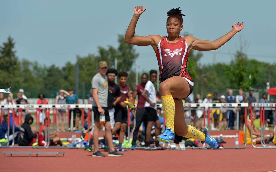 Kaiserslautern's Jada Branch defended her girls long jump title at the DODEA-Europe track and field championships with a leap of 18 feet, 4.75 inches.
