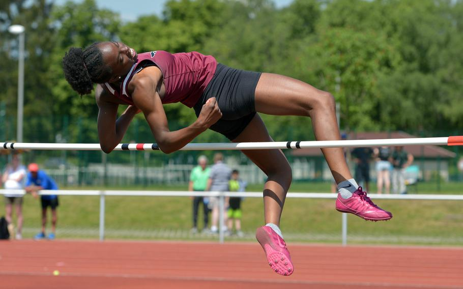 Vilseck's Tynniesia Wilson won the girls high jump competition at the DODEA-Europe track and field championships, with a leap of 5 feet, 5 inches, tying the DODEA-E record.