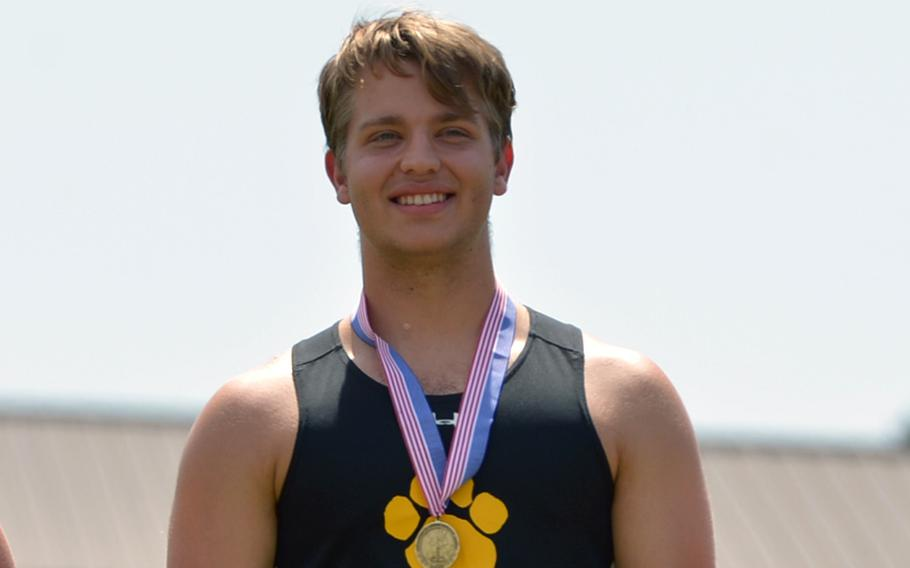 Stuttgart's Anders Bergeson threw the discus 134 feet, 10 inches to capture gold at the DODEA-Europe track and field championships in Kaiserslautern, Germany.