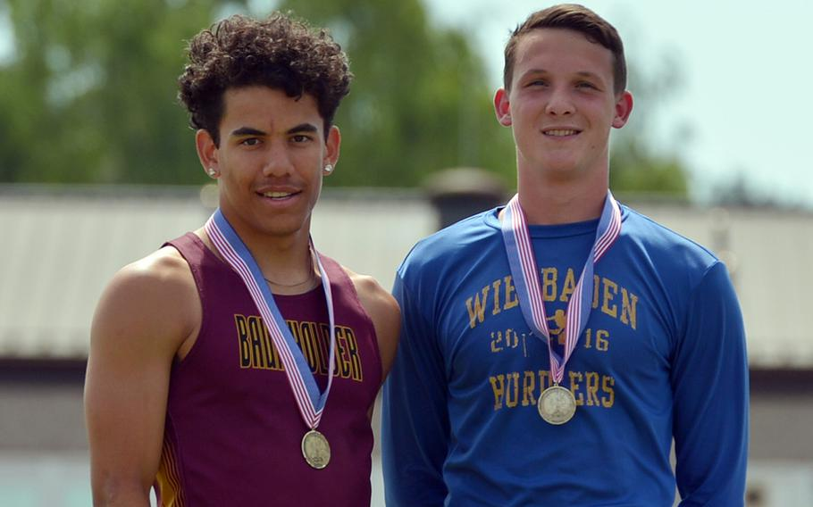 Baumholder's Solo Turgeon, left, and Wiesbaden's Garrett Armel tied for first in the 110-meter hurdles, each running 15.47 seconds.