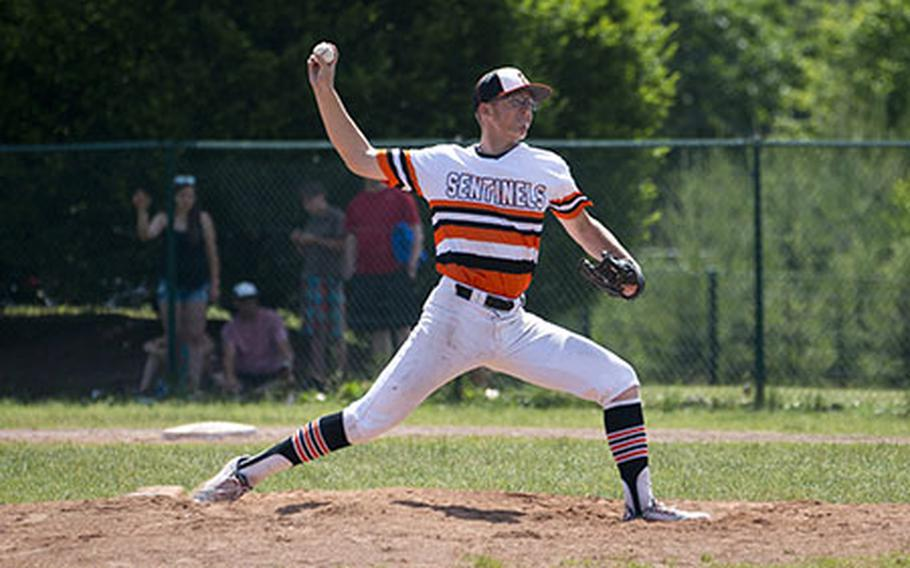 Spangdhalem's Max Little pitches during the DODEA-Europe Division II/III baseball championship at Ramstein Air Base, Germany, on Saturday, May 26, 2018.