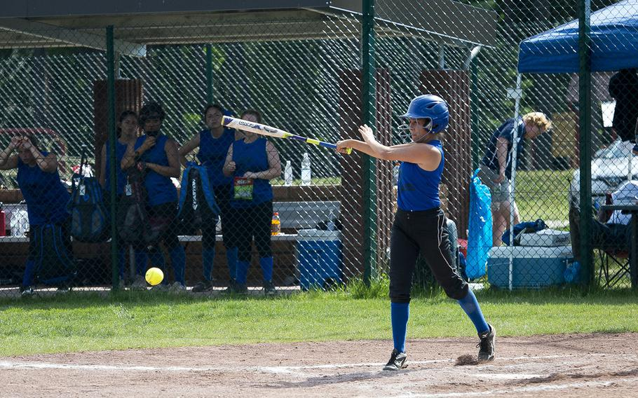 Hohenfels' Janice Williams hits the ball during the DODEA-Europe Division II/III softball championship at Ramstein Air Base, Germany, on Saturday, May 26, 2018.