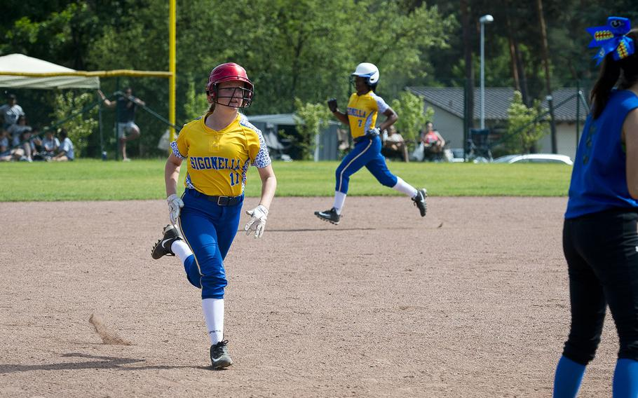 Sigonella's Addie Blair runs for third during the DODEA-Europe Division II/III softball championship at Ramstein Air Base, Germany, on Saturday, May 26, 2018.