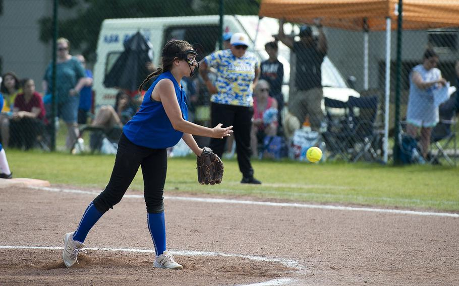 Hohenfels' Hailee Mezzacapo pitches during the DODEA-Europe Division II/III softball championship at Ramstein Air Base, Germany, on Saturday, May 26, 2018.