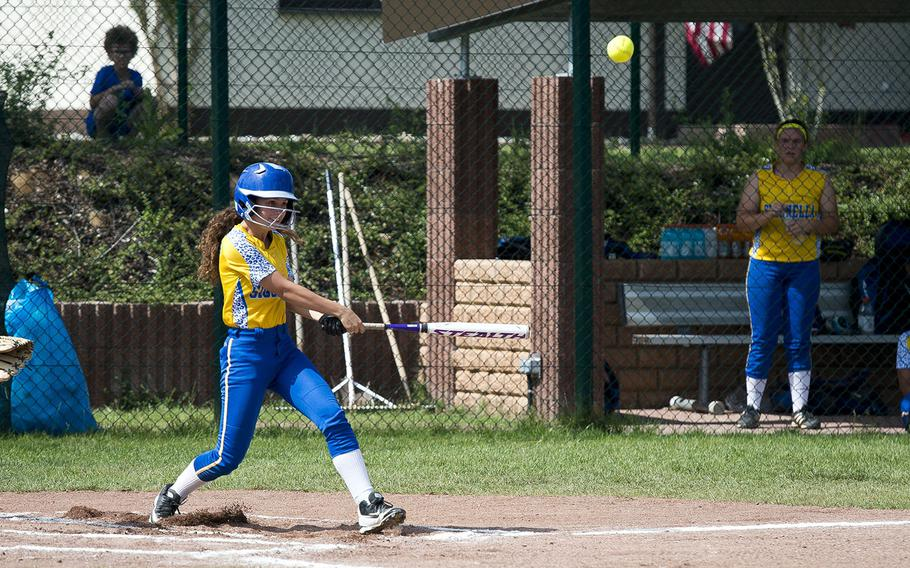 Sigonella's Martina Raco hits the ball during the DODEA-Europe Division II/III softball championship at Ramstein Air Base, Germany, on Saturday, May 26, 2018. Sigonella defeated Hohenfels 4-2 to win the title.