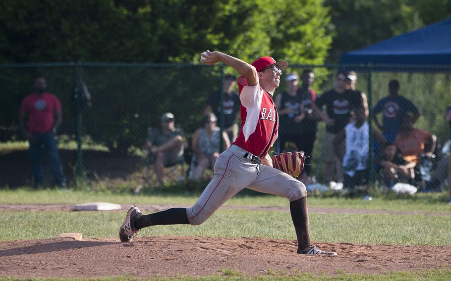 Kaiserslautern's Ronin Sherman pitches during the DODEA-Europe Division I baseball championship at Ramstein Air Base, Germany, on Saturday, May 26, 2018.