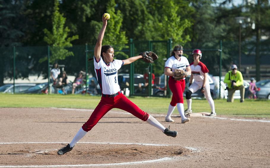 Lakenheath's Victoria Herndon pitches during the DODEA-Europe Division I softball championship at Ramstein Air Base, Germany, on Saturday, May 26, 2018.