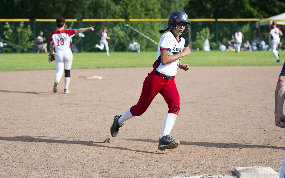 Lakenheath's Victoria Herndon runs to third during the DODEA-Europe Division I softball championship at Ramstein Air Base, Germany, on Saturday, May 26, 2018.