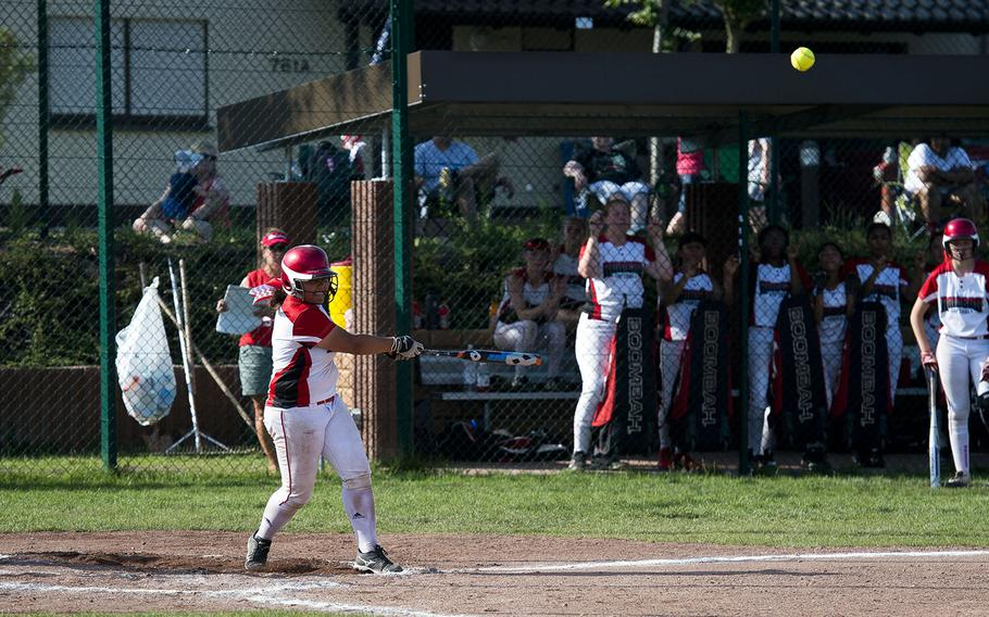 Kaiserslautern's Marianna Conklin hits the ball during the DODEA-Europe Division I softball championship at Ramstein Air Base, Germany, on Saturday, May 26, 2018. Kaiserslautern defeated Lakenheath 10-9 to win the title.