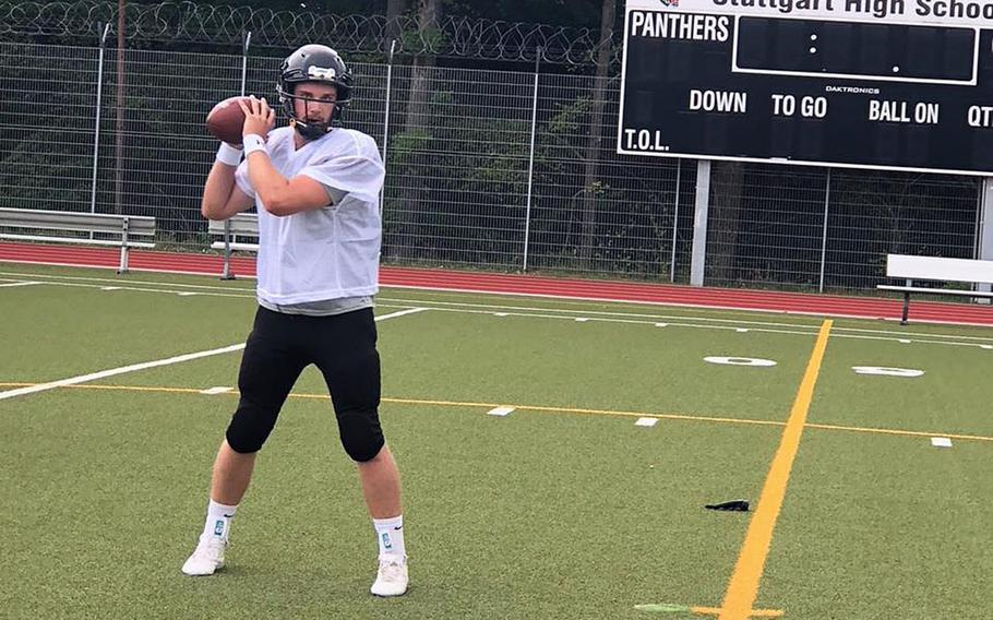 Stuttgart's Jackson Zimmerman takes snaps at quarterback in a Panther practice session at Stuttgart High School. The defending champions are looking to replace starters at several key positions.