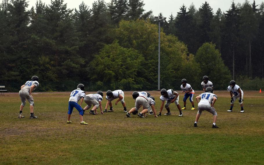 The Hohenfels Tigers practicie in the rain on Friday, Aug. 24, 2018.