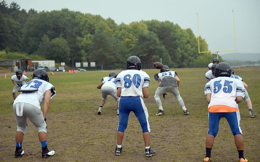 The Hohenfels Tigers practice offensive plays on Friday, Aug. 24, 2018.