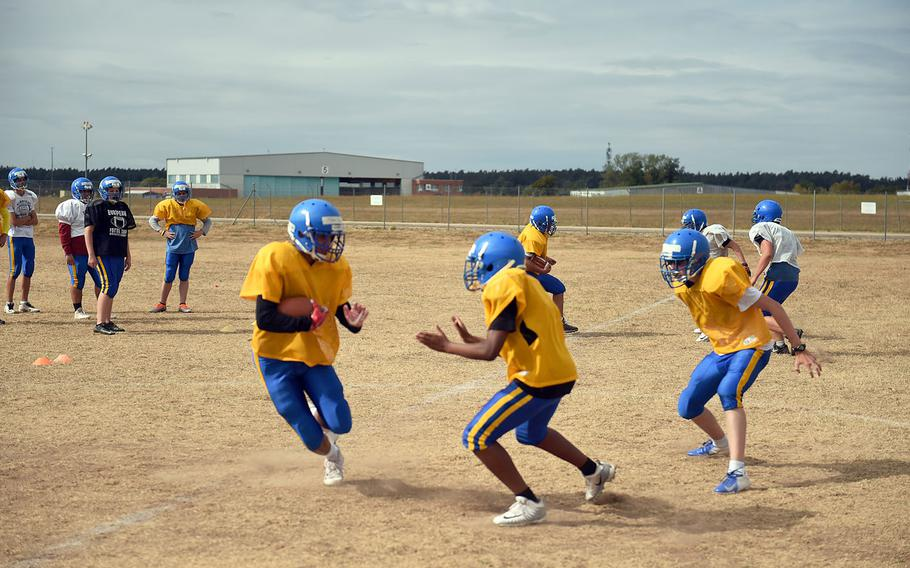 The Ansbach Cougars run drills during practice, Monday, August 27, 2018.