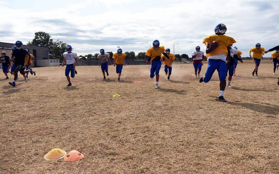 Ansbach Cougars doing sprints during practice, Monday, August 27, 2018.