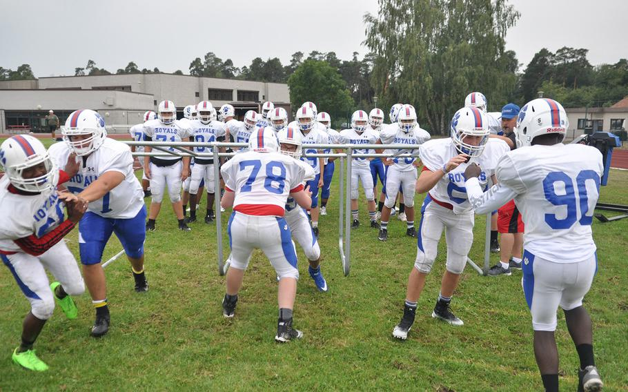Ramstein Royals players run through contact drills at a preseason practice at Ramstein Air Base, Germany. The Royals have 11 returning players back from a team that reached the European championship game in 2017.