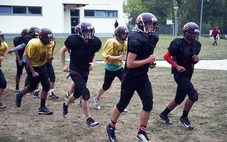 The Vilseck Falcons running together during practice, Friday, Aug. 31, 2018, at Vilseck, Germany.