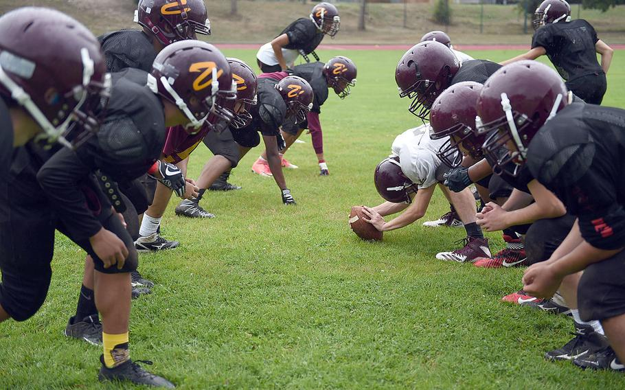 The Vilseck Falcons face off during practice, Friday, Aug. 31, 2018, at Vilseck, Germany.